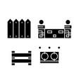 fences black icon concept fences sig vector image