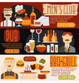 flat design banners with mens clubbbq and pub vector image