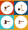 flat icon court set of law justice government vector image vector image