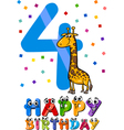 fourth birthday cartoon design vector image