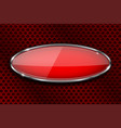 glass red button on metal perforated background vector image vector image