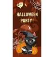 Halloween party card with cat vector image vector image
