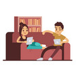 happy couple on sofa with tablets young man and vector image vector image