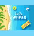 hello summer message on marine background vector image