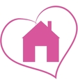 Icon home in the heart vector image