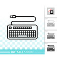 keyboard simple black line icon vector image vector image
