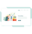 landing page template with group of clerks vector image vector image