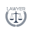 Lawyer icon justice scales laurel wreath emblem vector image vector image