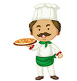 Male chef and italian pizza vector image vector image
