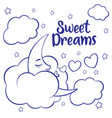 moon clouds and stars sweet dreams wallpaper vector image