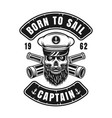 nautical emblem with captain skull in hat vector image