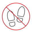 no shoes thin line icon prohibition and forbidden vector image vector image