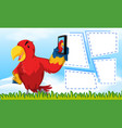 parrot on note template vector image vector image