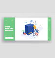 people putting paper vote into ballot box male vector image vector image