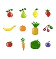 Pixel art style fruits vegetables and berries