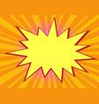 pop art orange background with comic bubble vector image vector image