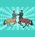 pop art two centaur businessmen fighting vector image