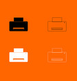 printer black and white set icon vector image vector image