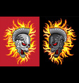 punk metal skull fire flames background vector image vector image