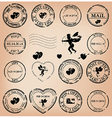 romantic grungy post stamps for valentine day vector image