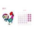 Rooster calendar 2017 for your design June month vector image vector image