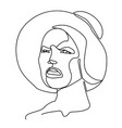 sad woman in hat one line art portrait vector image vector image