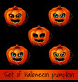 set of ripe pumpkin with eyes and mouth jack-o vector image vector image