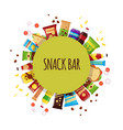 snack product with circle fast food snacks vector image vector image