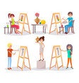 students draw and paint isolated vector image