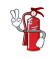 two finger fire extinguisher character cartoon vector image