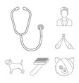 veterinary clinic outline icons in set collection vector image vector image