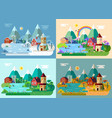 village at summer winter autumn springpanorama vector image vector image