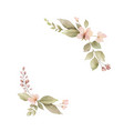 watercolor wreath with leaves and flowers isolated vector image