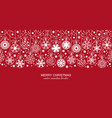 white seamless snow flake border red background vector image