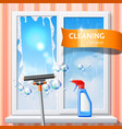 window cleaning squeege 3d detergent spray vector image vector image
