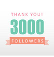 3000 followers thank you number with banner vector image vector image