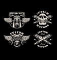 a set black and white motorcycle emblems vector image vector image