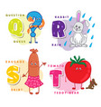 alphabet children colored letter q r s t vector image vector image