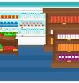 Background of supermarket shelves vector image vector image