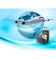 Background with airplane and globe Travel concept vector image vector image