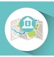 bank buiding map pin pointer design