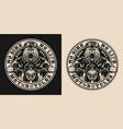 bear biker vintage round badge vector image vector image