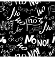 black white seamless pattern with word no vector image vector image
