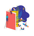 book festival concept - a group tiny people vector image vector image