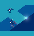 business person running with ride bicycle vector image