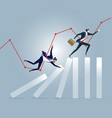 businessman running on top of domino effect vector image
