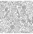 cartoon cute hand drawn picnic seamless pattern vector image vector image