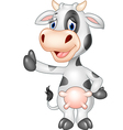 Cartoon funny cow giving thumb up isolated vector image vector image