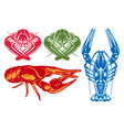 color set with various river crayfish vector image