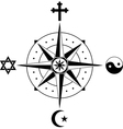 Compass of religions vector image